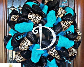 Turquoise Burlap and Leopard Wreath (letter of choice)