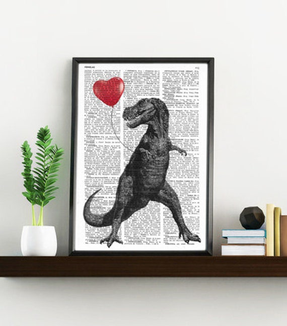 Spring Sale T Rex with a heart shaped red ballon  Print on Vintage Dictionary Book  Altered art on upcycled book pages BPAN213