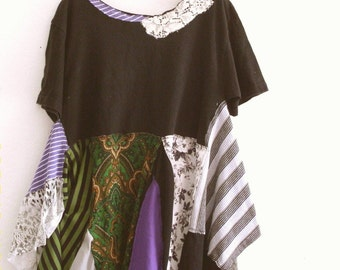 T-Shirt Dress. Patchwork Tunic. Eco Fashion Holiday Sale