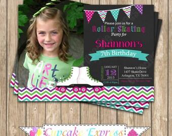 Roller Skating Girls Birthday Party  PRINTABLE chalkboard Photo Invitation 5x7 4x6 teal purple pink DIY