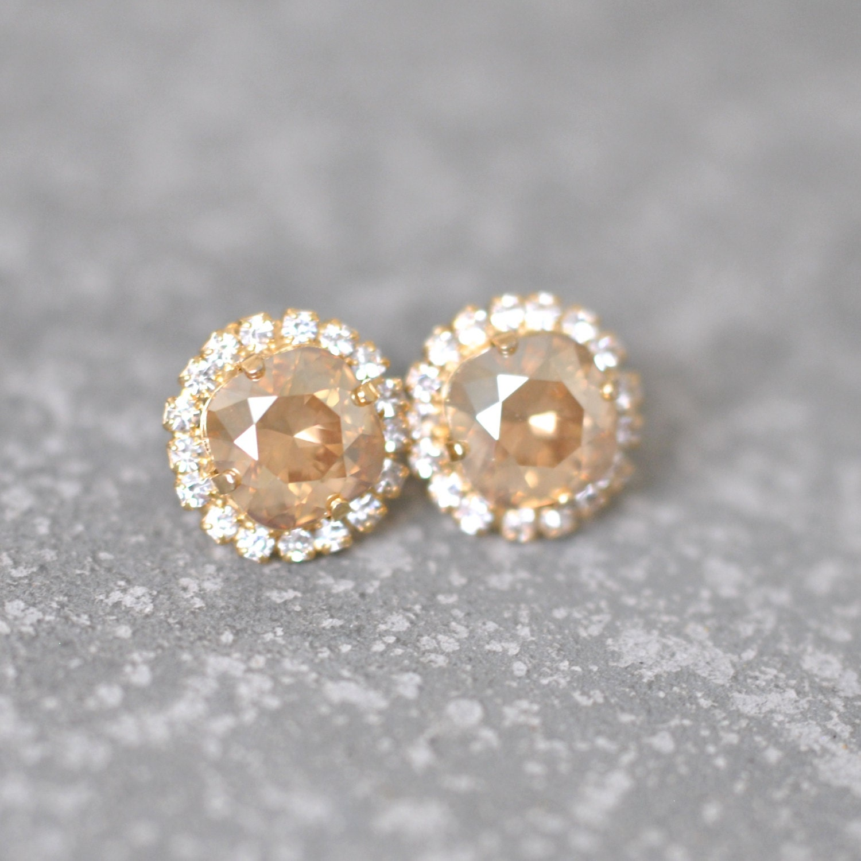 champagne diamond earrings swarovski crystal studs by. Black Bedroom Furniture Sets. Home Design Ideas