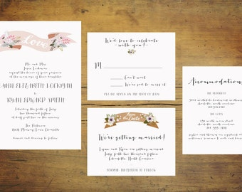 Printable Banner Wedding Invitation Suite   Wedding Invitation Set, Pink Invitation, Banner Invitation, Pink and Gold