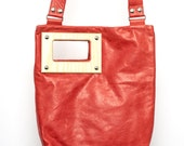 ON SALE Coral red leather bag / removable crossbody strap / wood handles / leather purse / clutch bag / gift ideas / handmade