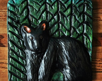 ON SALE - Black Bear Art Animal Tile, Plaque, Wall Hanging - Original Clay Carving - Rustic Home Decor