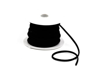 70 feet Spool of Faux Suede Lacing Cord, JET BLACK 3mm x 1.5mm   cor0037