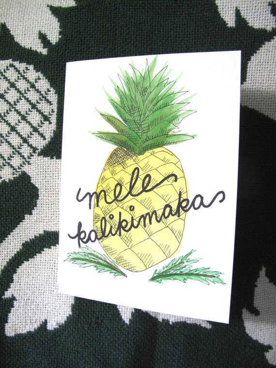 mele kalikimaka pineapple greeting card