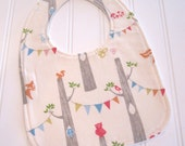 CLEARANCE/SWEET NATURALS/Organic Line/Baby Bib/Infant--18 mo./Woodland Party in Cream/Organic Fleece Back