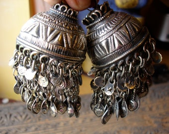 Kuchi  large tarnished bell shaped chain and dangle drop pendant
