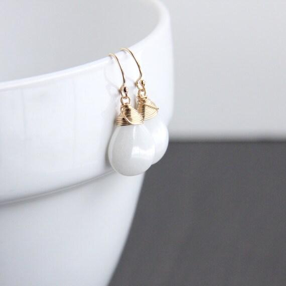 Opalite Earrings, 14K Gold Filled Jewelry, Wire Wrapped Briolette, White Stone Earrings
