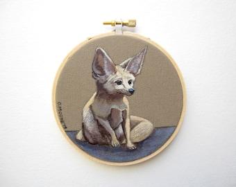 Fox Painting Hoop Art - Fennec Fox Painting Woodland Nursery Art - Nursery Decor Fox Wall Art