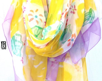 Beach Sarong, Pareo, Sarong Scarf, Sarong Cover Up, Silk Summer Scarf, Handpainted Scarf, Tropical Print, Yellow, Purple Flowers, 43x72 inch