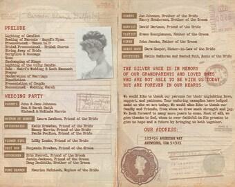 Vintage Passport Wedding Program
