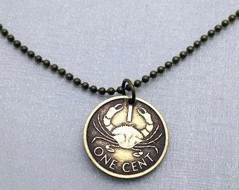 Cancer necklace - Crab necklace - coin necklace - crab jewelry - crab pendant - Cancer pendant - coin jewelry - coin pendant - Tiny coin