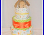 3 Tier Neutral Jungle Themed Diaper Cake-Adorable Baby Shower Centerpiece