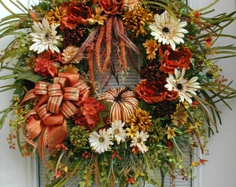 Thanksgiving Wreath Fall Door Decoration Front Door Wreath Pumpkin Wreath Large Fall Wreath Silk Floral Hanging Decor Grapevine Wreath
