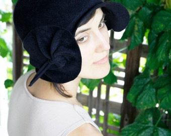 Indigo Cloche 1920s Style Couture Hat