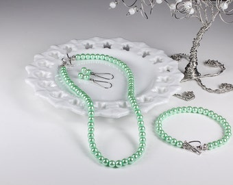Mint Pearl Bridesmaid Jewelry Set Mint Green Bridal Wedding Necklace Bracelet Earrings