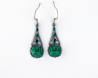 Green Rose Earrings, Silver Earrings, Jewelry Under 40, May Birthstone, Filigree Jewelry, Vintage Style, Elegant Jewelry, Gift For Mom