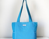 Blue Tote, Shoulder Bag with Side Pockets and Zip Closure