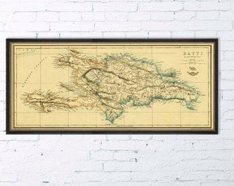 Vintage map of Haiti -  Old map print - 14 x 32""