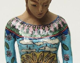 ceramic sculpture; ceramic art; art pottery figure with bird