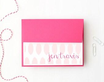 Personalized Stationery Girls Custom Stationary Pink Ikat Pattern Tribal Print Bridesmaids Gifts Fuchsia Kids Thank You Notes / Set of 10