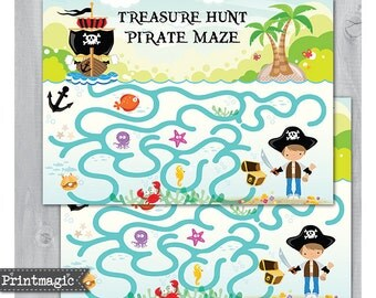 Pirate Party Maze - Printable Party Activity - Instant Download - Pirate Birthday Party Game - Pirate Birthday Game - Child Activity