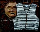 Vintage Woven Nepal Vest, Black and White Vest, Bohemian, Hippie, Folk, Ethnic