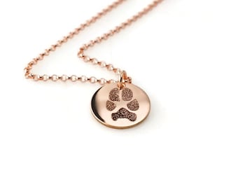 Your pet's actual paw or nose print custom personalized pendant necklace 14k rose gold filled. Various diameters available. Pet memorial