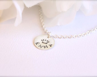 Sterling Silver Personalized Gift Little Girl Jewelry Necklace Hand Stamped Crown, Heart, Flower, Star -FREE Gift Packaging
