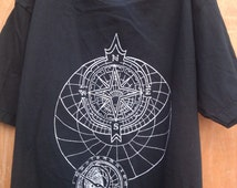 compass face, star map short sleeve white print on black unisex tee t shirt design psychedelic astronomy sky chart navigation clothing