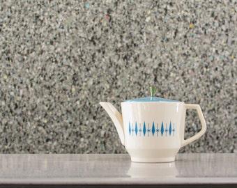 Mid Century Ceramic Teapot - Diamond Carousel Pattern by Nest Stone Stetson Mar-Crest - Atomic Era Tea Pot