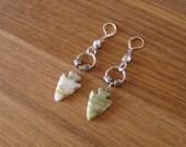 Sage Green and White Arrowhead Earrings - Rhinestone Charm - Silver Metal - Leverback Earrings