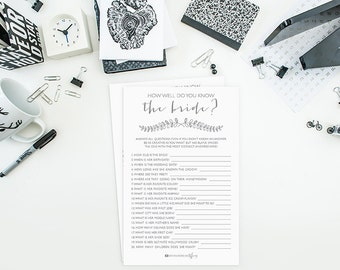 Instant Download Printable Bridal Shower Card - How Well Do You Know the Bride - Gray Laurel - Bridal Shower Game - DIY Carnation EB03