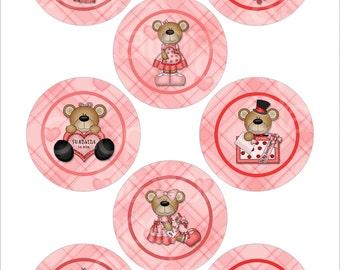 "DIY Valentine Bears One Inch Digital Images on 4"" X 6"" Sheet"