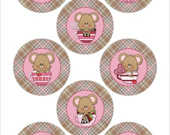 Digital Printable 1.313 Inch Valentine Images for Buttons, Stickers and More