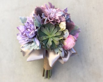 Succulent Thistle Lilac, Pink & Lavender Silk Wedding Bouquet with Dahlias, Peony Buds, Roses and Dusty Miller