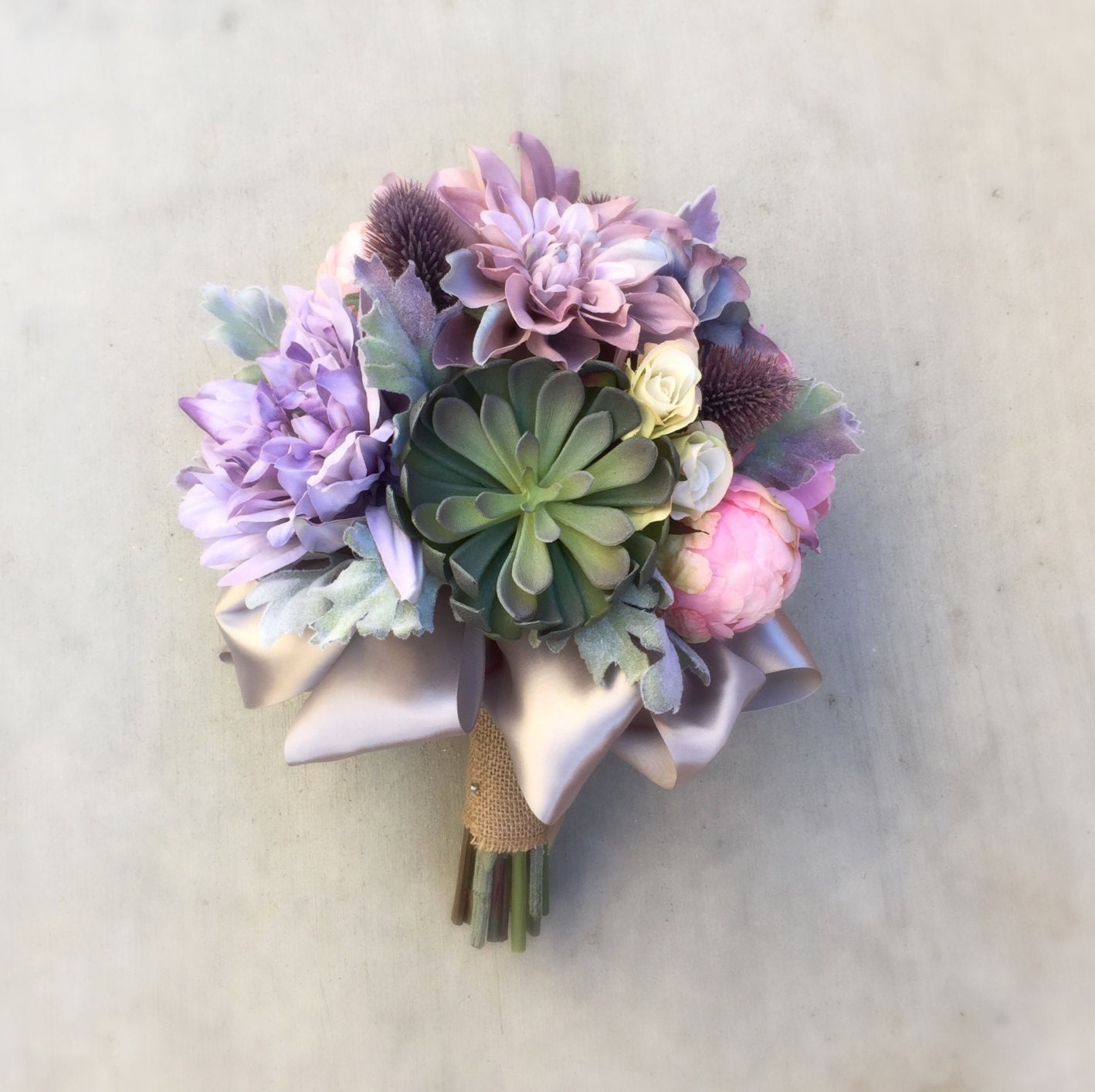 Succulent Thistle Lilac Pink & Lavender Silk Wedding Bouquet