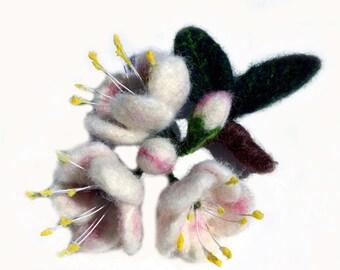 Cherry blossom felted brooch, pin, felt wool flower brooch, pin