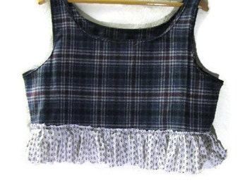 Funky Cropped Plaid Wool Pullover Vest/ Eco Upcycled Shabby Tattered Pull Over Vest Large