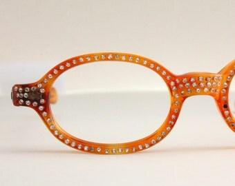 Vintage 50's Amber Rhinestone Cat Eye Eyeglasses
