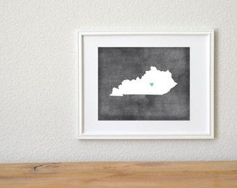 Kentucky Chalkboard State Map Customizable Art Print. Kentucky Map Art.