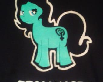Radical 'FEMINIST PONY' Political Punk Feminist T-shirt- Turquoise