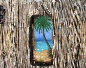 Weathered Wooden Beach Painting on A Large Distressed Plank , Hand Painted Sign with All Weather Resin Coating & Natural Fiber Rope Hanger