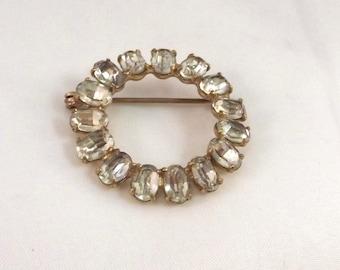 Round Clear Rhinestone Pin - Classic Rhinestone Brooch - Vintage Wedding Jewelry