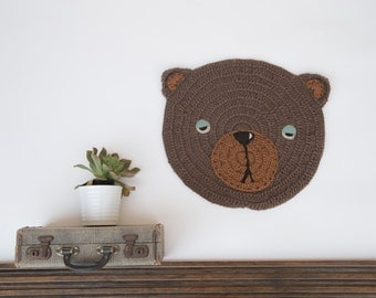 Crocheted Carpet, Crochet Wall Hanging, Bear Wall Hanging, Crocheted Bear, Animal Wall Decor, Children Room Wall Hanging, Bear Decoration