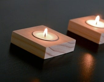 Handmade Wood Candle Holder with Tea Light    Small Modern Candleholder, Natural Wood Candle Centerpiece, Real Wood Tea Light Candle Holder