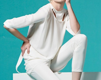 SALE 45% - Cut Out Halterneck Reversible Blouse (White)