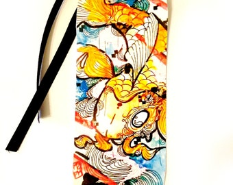 Bookmark - Art Bookmark - Animal Bookmark - Koi Fish Bookmark - Watercolor art - Book Lover Gift - Paper Goods