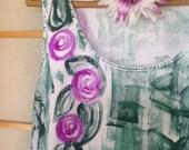Hawaiian Dress - Cotton Summer Dress - Beach Dress - Hawaii Dress - Plus Size Sun Dress - Hand Painted A Line Dress -  Swim Suit Cover Up